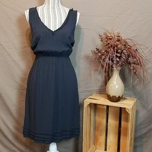 Maeve Navy V-Neck Elastic Bunched High Waist Dress